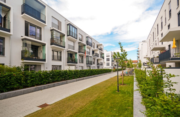 Modern residential buildings with outdoor facilities