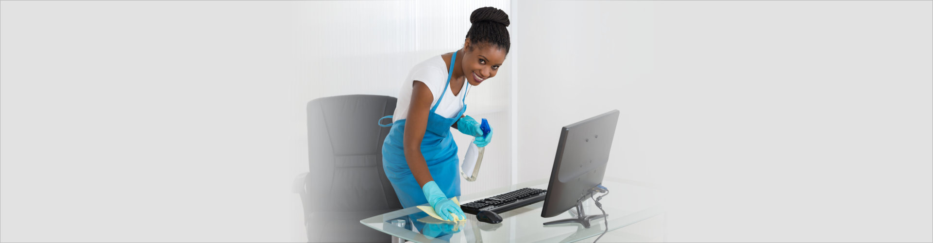 Woman cleaning using napkin and spray